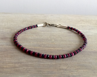 Men's Bracelet with Sapphire and Rubby Stones