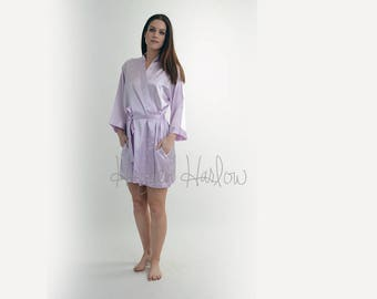 Lilac- Lavender Purple Satin Robe -Bride Bridesmaid Flowergirl Gift-Monogrammable | sizes 0-26 standard or petite, child sizes
