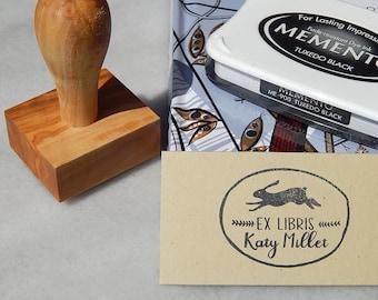 Running Hare Ex Libris Olive Wood Stamp