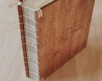 custom wedding wood photo album scrapbook unique wood book  mahogany - anniversary gift instant photo guestbook - made to order