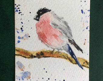 Bird ORIGINAL Miniature Watercolour, Wildlife painting, Finch, ACEO, Watercolor,  For him, For her, Home Decor, Wall Art, Gift Idea