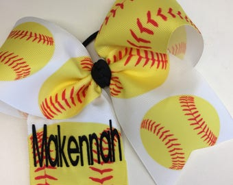 Any Name, Softball Hair Bow, Girls Monogram, Embroidered Bows, Hairbows, Teen Sports, Custom Boutique, Large Personalied, Ribbons Printed