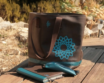 Dark Brown and teal faux leather tote bag.