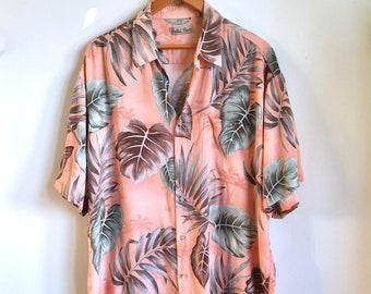 Coral Monstera Leaf Blouse / Vintage Tropical Leaves Shirt / Pastel Peach Button Down / Unisex Slouchy Plant Blouse