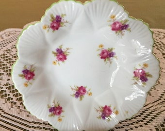 Vintage Shelley Bone China England Nut/Candy/Trinket Bowl Rose, Dainty Shape