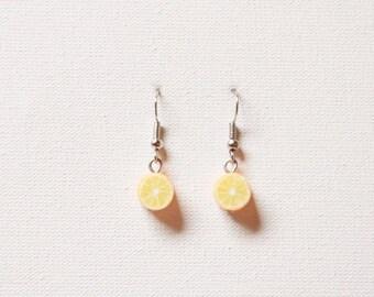 Lemon fruit earrings