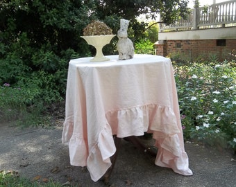 Pink Linen Tablecloth Pink Ruffled Tablecloth Custom Sizes Easter Decor Wedding Decorations Table Decor French Country