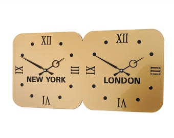 Roco Verre Gold Acrylic World Timezone Wall Clocks