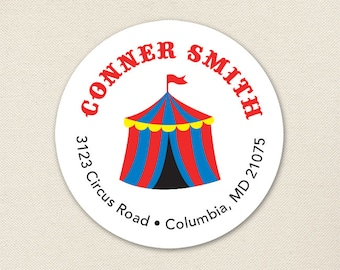 Circus Address Labels / Carnival Address Labels / Circus Tent Address Labels - Sheet of 24