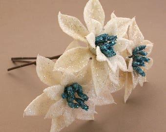 3 White and Blue Glitter Poinsettia Picks- Silk Flowers, Christmas Flowers