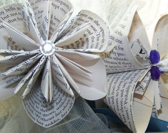 5 Origami Book Page or Sheet Music Flower Decorations