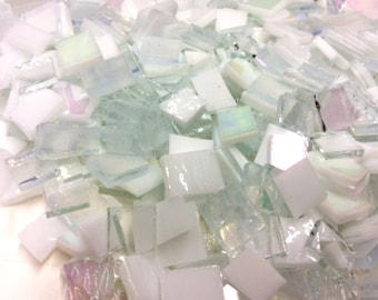 Clearance 75 VARIETY WHITE & CLEAR Mix Tile Glass Mosaic Supply O1