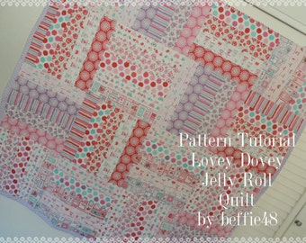 Lovey Dovey Jelly Roll Baby Quilt Pattern Tutorial, pdf, Super Simple with Photos