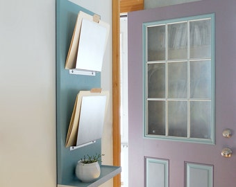 OFFICE FILE HOLDER: Organizer with Shelf and Key Hooks, Handmade Modern Wall Mounted Wood and Metal Storage Unit for Home or Office.