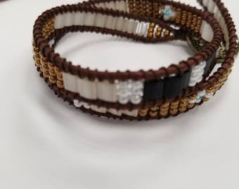 Seed Bead Leather Wrap Bracelet