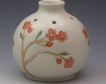 Porcelain bud vase, Pansy Pot, essential oil reed diffuser, handmade with cherry blossom pattern