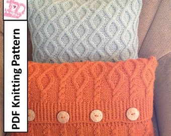 Cable knit pillow cover pattern, PDF KNITTING PATTERN, knitted cushion pattern