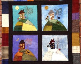 "Wool Kit & Pattern - Wool Appliqué' PatchWork Hill  Quilt 36"" x 36 """