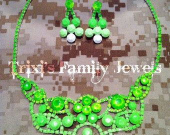 Neon Green Ombre Hand Painted Rhinestone Necklace and Earring Set