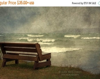 25% Memorial Day Sale bench Lake Superior landscape photography storm fine art photography shoreline trees home decor office decor