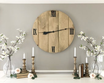 "30"" wood wall clock"