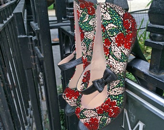 Bernadette Open Toe Mary-Jane High Heel | Red, Pink & Green