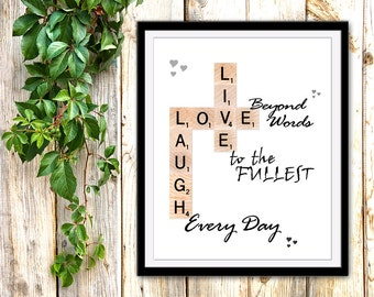 Printable Live Love Laugh, INSTANT DOWNLOAD, Printable Quotes, Motivational Scrabble Art, Scrabble Wall Art, Inspirational Quotes Printables