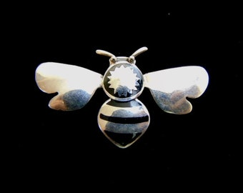 Womens Vintage Estate .925 Sterling Silver Bumble Bee Brooch 11.9g E1524