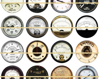 Steampunk Gauges Meters  Magnets Pins Industrial Dials Party Favors Gift Sets Fridge Magnets Cabochons