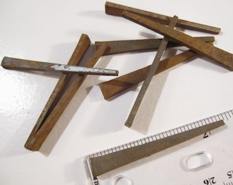Vintage Primitive Flat Head 'Square' Nails 2 1/4 inches in Length - Shipping Included in Price