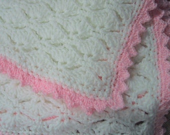 Baby Afghan - Handmade Crocheted - Soft White and Pink Acrylic Yarn - Washable - Nice Baby Shower Gift - Ready to Ship