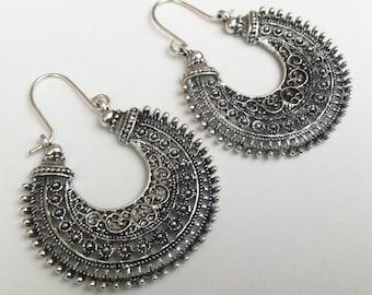 Tribal Statement Earrings , Silver Earrings , Large Hoop Earrings , Tribal Earrings , Boho Earrings , Large Earrings , Handmade Jewelry