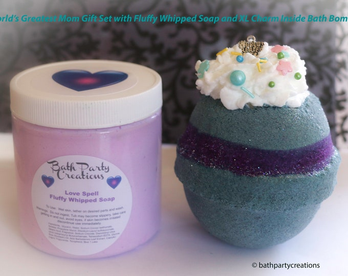 World's Greatest Mom Charm Bath Bomb Gift Sets with Fluffy Whipped Soap, Mother's Day Gift, Every day gift, Love Spell, Strawberry Champagne
