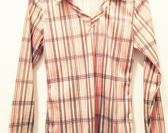 Vintage Seventies Women's Striped Long Sleeve Collared Shirt