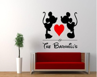 Vinyl Kissing MIckey & Minnie Mouse Wall Decal, Vinyl Disney Decal, Vinyl Family Wall Decal,