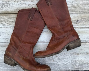 Vintage Frye, Distressed Leather, 70s, Western, Cowboy Boots, Size 8
