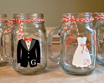 11 Personalized Monogrammed Bridesmaid and Groomsman Mason Jar Mugs