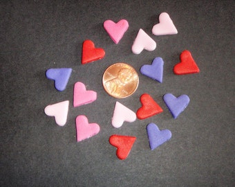 Tiny Fondant Hearts set of 50 - Perfect for cupcakes, cakes, cake pops - Great for Weddings, Valentine's Day, Showers and Birthdays