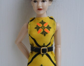 1:12 scale doll house miniature women's yellow dress with black belt for Heidi doll by Jing's Creations