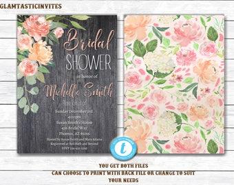 Rustic Bridal Shower Invitation, Rustic Invitation, Mason Jar invitation, Flower Invitation, Bridal Shower Invitation, Template, You EDIT