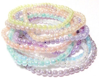 Pastel Seed Bead Stretchy Bracelets Set Of 10 Size XS 6 Inches