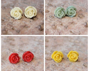 DAINTY SERIES - Tiny Rose Earrings - 8mm - Buy 3 Get 1 FREE - Bridesmaids gift, surgical steel, hypoallergenic