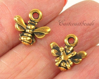 TierraCast Small Honey Bee Charms, Double Sided Charms, Drops, Antique GoldPlated Lead Free Pewter, 5 Pieces, 2026