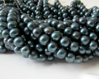 Teal Pearls, Freshwater Pearls, Teal Potato Pearl, Teal Green Pearls, Blue Pearls, Round Pearls, Off Round 5mm - 6mm Full Strand