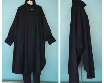 Vintage Black Wool Cape Coat, Vintage Wool Cape, Black Wool Cape, Minimalist Cape, Long Black Cape, Black Wool Poncho, Size Large