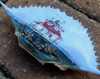 Hand Painted Thomas Point LightHouse Chesapeake Bay Annapolis Maryland Crab Shell Chesapeake Bay Bridge Fishing Boats Personalized Keepsake