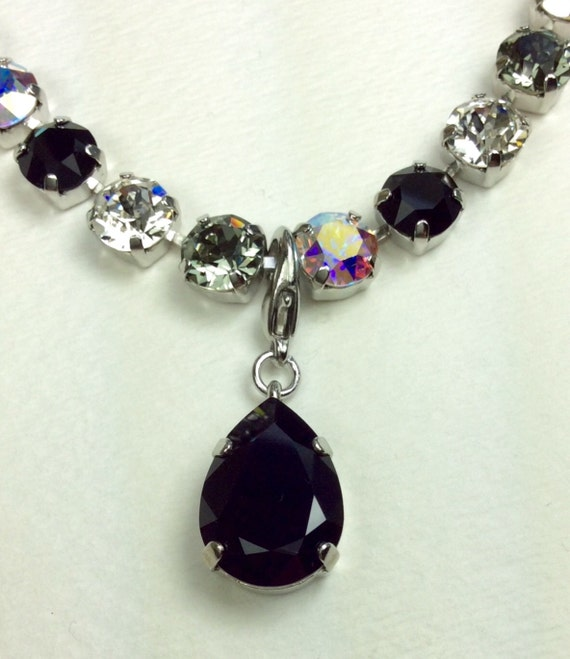 Swarovski Crystal - Designer Inspired - Pear Shaped Add - On Charm - in Jet   FREE SHIPPING