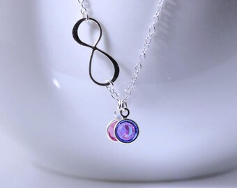 Infinity Birthstone Necklace, Birthstones Necklace, Silver Infinity, His Hers Stones, Friendship Necklace, Sisters Necklace. Mother daughter