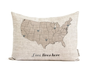 Custom State to State Pillow, Linen Map Pillow, Mothers Day Gift, Going Away Gift, Long Distance Relationship, Rustic Decor, Throw Pillows