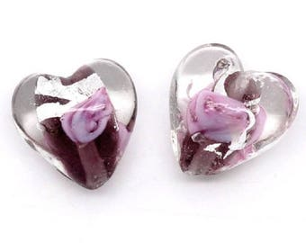 Pink old lampwork glass bead, heart shape